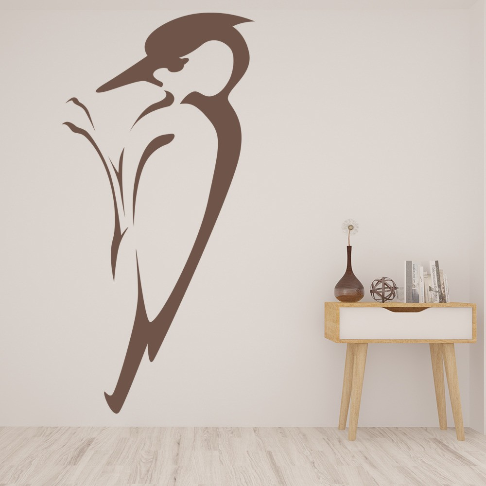 Woodpecker outline in tree birds feathers wall stickers home woodpecker outline in tree birds feathers wall stickers home decor art decals amipublicfo Image collections