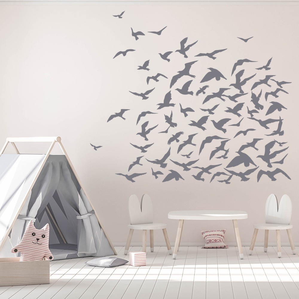 flock of birds flying group birds feathers wall stickers home flock of birds flying group birds feathers wall stickers home decor art decals