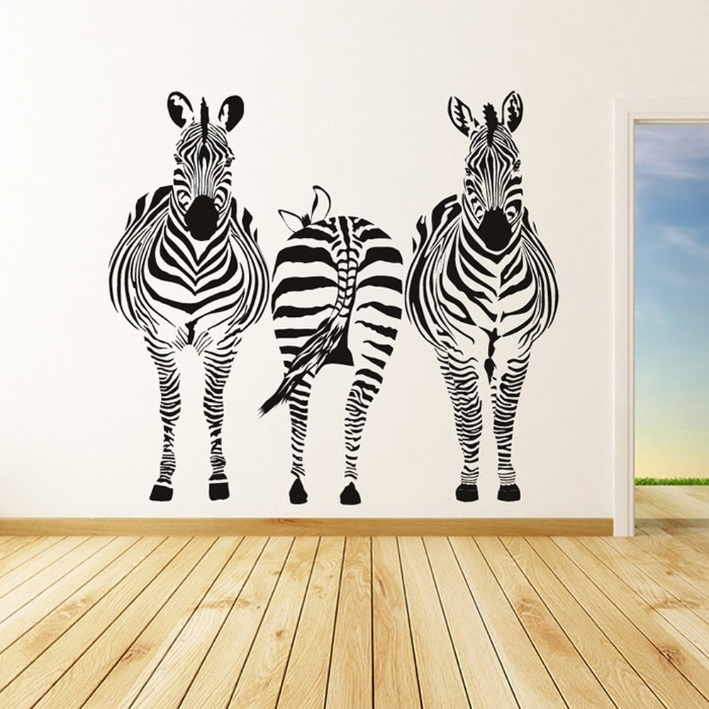 Nice Zebra Group African Horse Wild Animals Wall Stickers Home Decor Art Decals Part 3