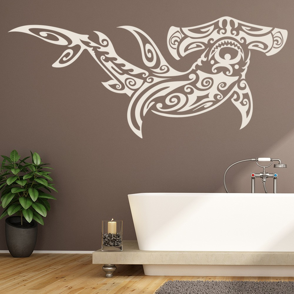 Bathroom wall stickers iconwallstickers hammerhead shark tribal design under the sea wall stickers bathroom art decals amipublicfo Images