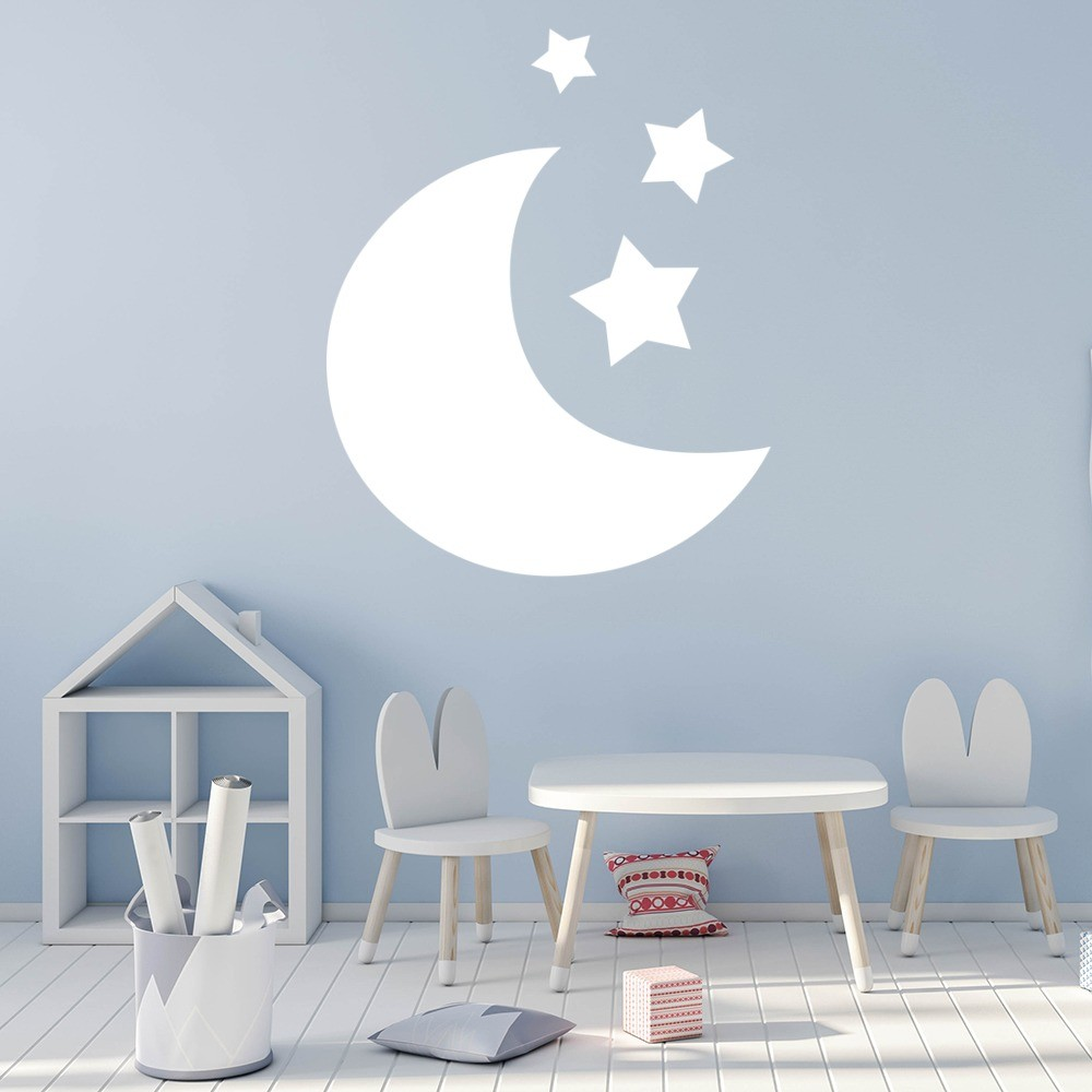 moon and stars wall sticker nursery wall decal kids bedroom home decor. Black Bedroom Furniture Sets. Home Design Ideas