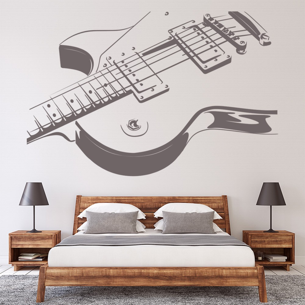 Electric Guitar Wall Sticker Rock Music Wall Decal Kids