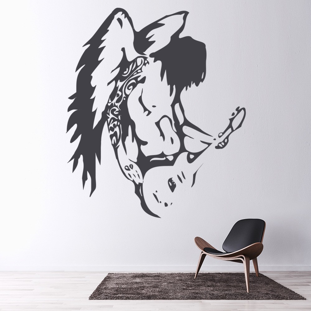 Angel Playing Guitar Wall Sticker Rock Music Wall Decal