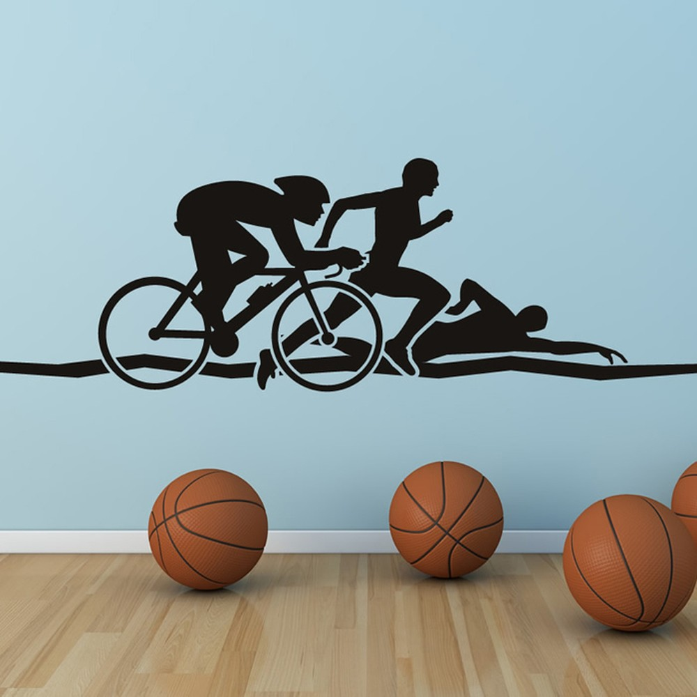 Awesome Triathlon Run Swim Cycle Athletics Wall Stickers Gym Home Decor Art Decals Part 29