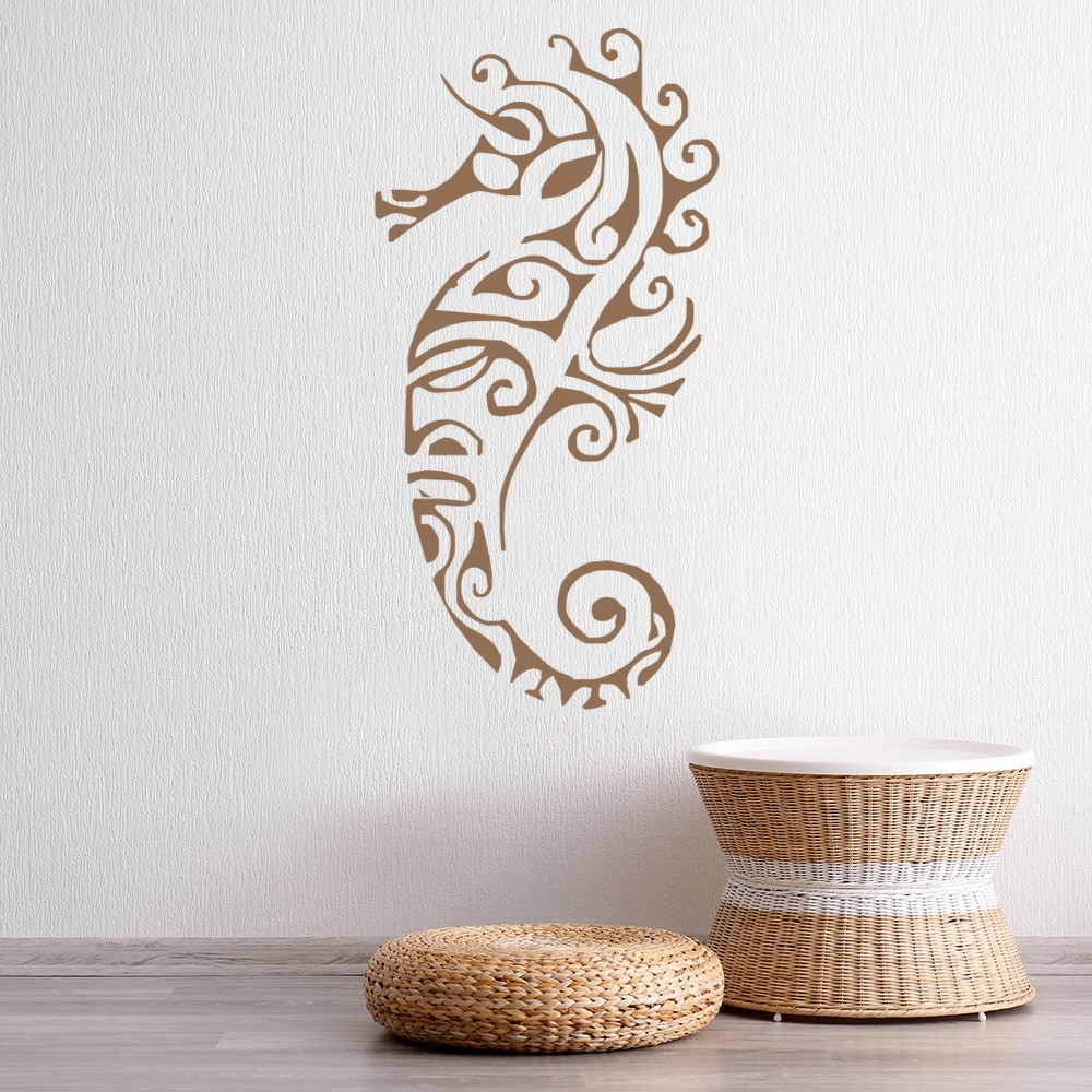 Tribal seahorse wall sticker under the sea wall decal for Bathroom wall mural
