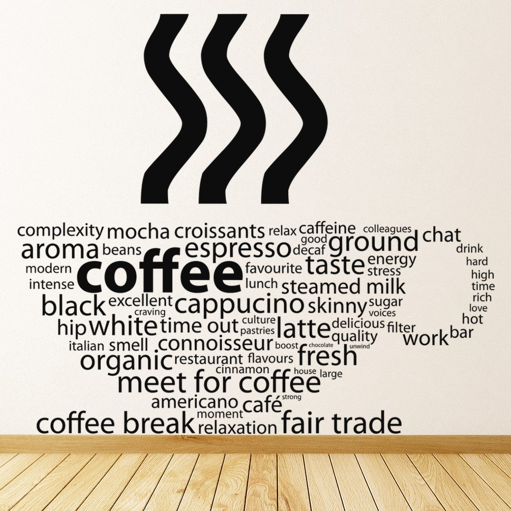 Coffee Types Cup Quote Food And Drink Wall Stickers Kitchen Decor Art Decals