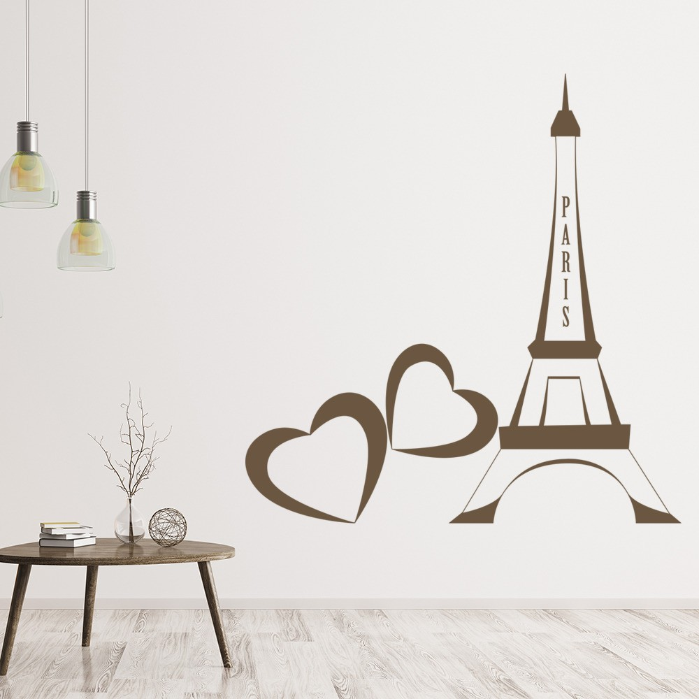 Love Heart Eiffel Tower Wall Sticker Landmark Wall Art