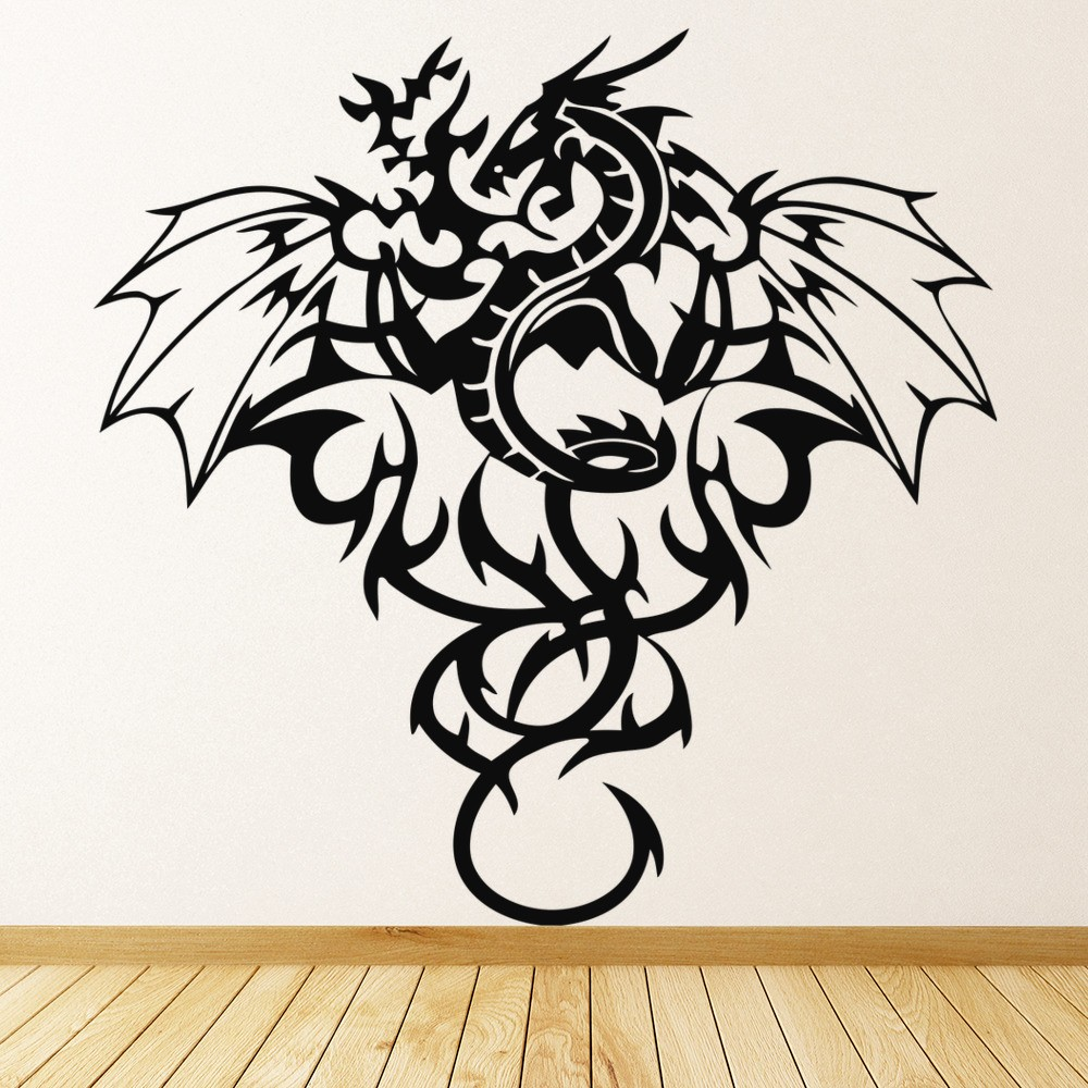 Delicieux Tribal Dragon Wall Sticker Winged Monster Wall Decal Boys Bedroom Home Decor