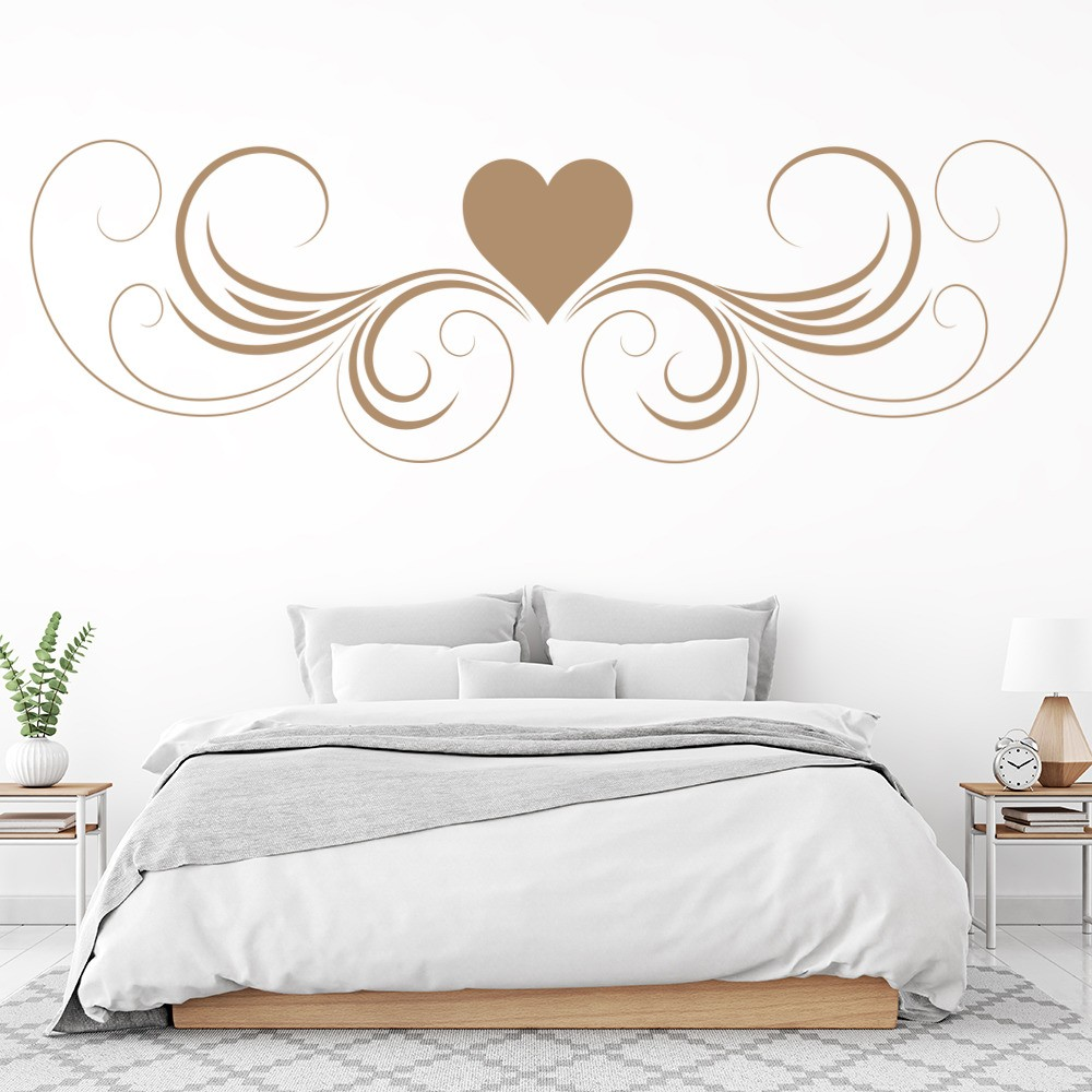 love heart wall sticker headboard design wall decal girls bedroom home decor. Black Bedroom Furniture Sets. Home Design Ideas