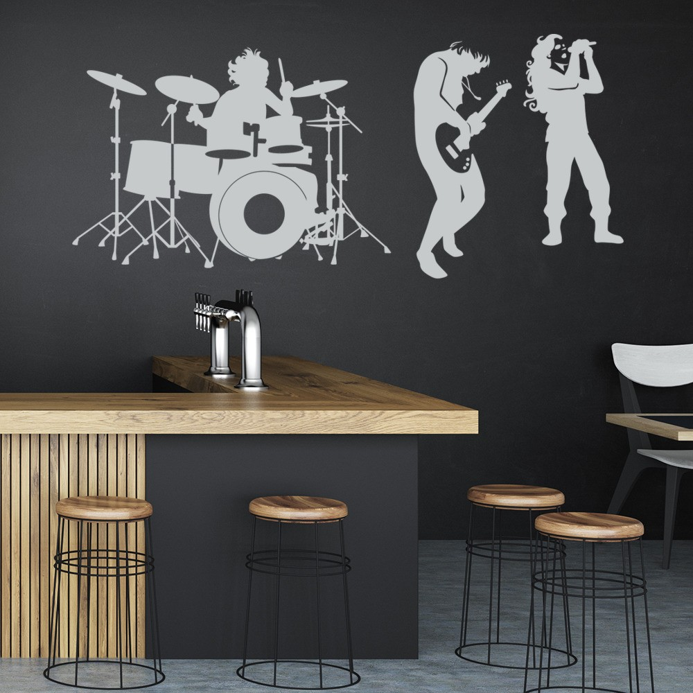 Rock band wall sticker drum kit music wall decal kids bedroom home decor
