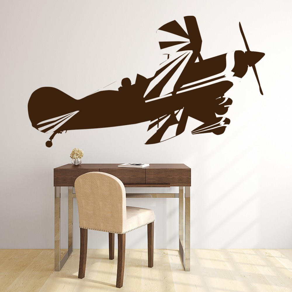 Biplane aircraft wall sticker airplane wall decal school for Airplane wall decoration