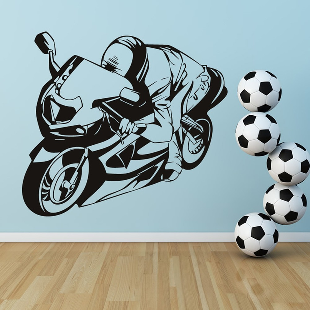 Sports Motorbike Wall Sticker Motorsports Wall Decal Boys Garage Home Decor & Motorbike Wall Stickers | Iconwallstickers.co.uk