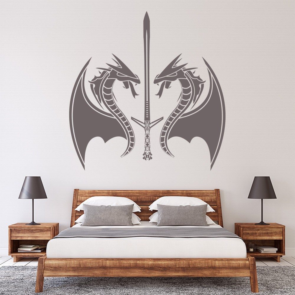 Dragon Sword Wall Sticker Fantasy Monster Wall Decal Boys Bedroom Home Decor