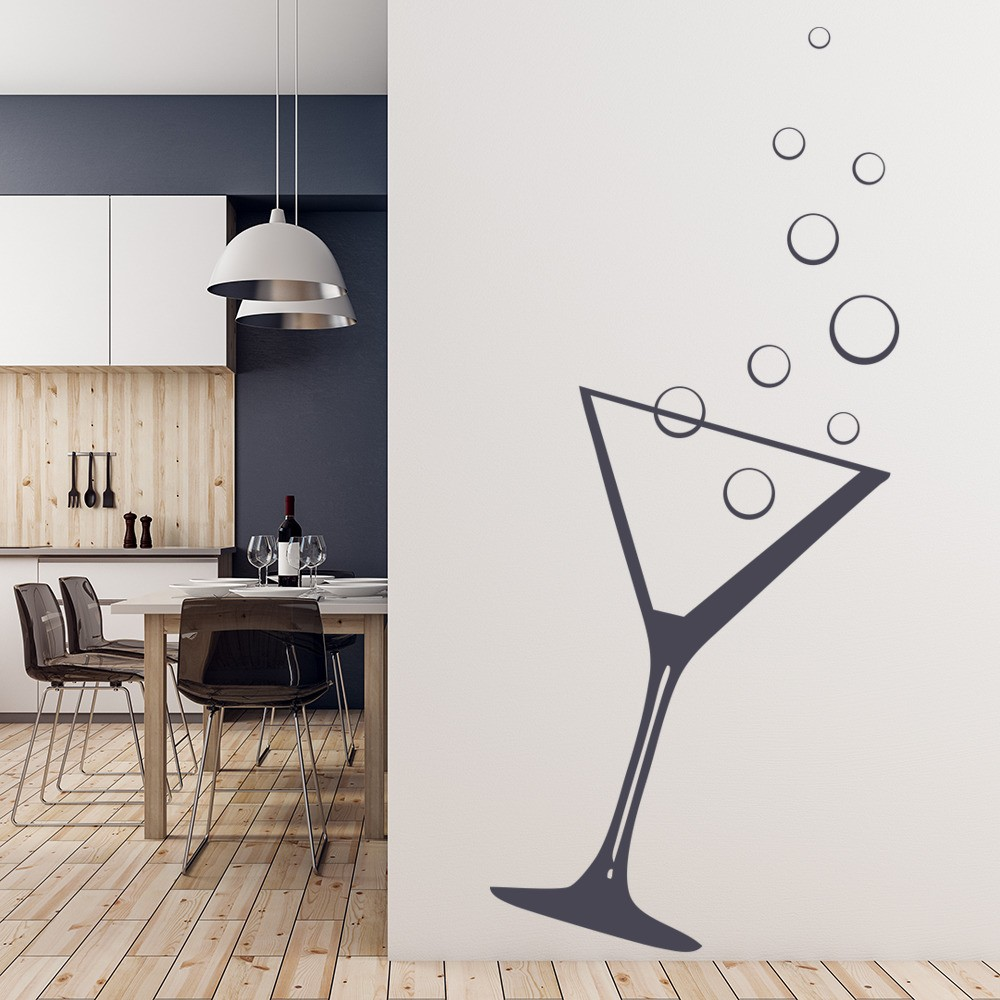 Kitchen wall stickers iconwallstickers cocktail glass with bubbles food and drink wall stickers kitchen art decals amipublicfo Choice Image