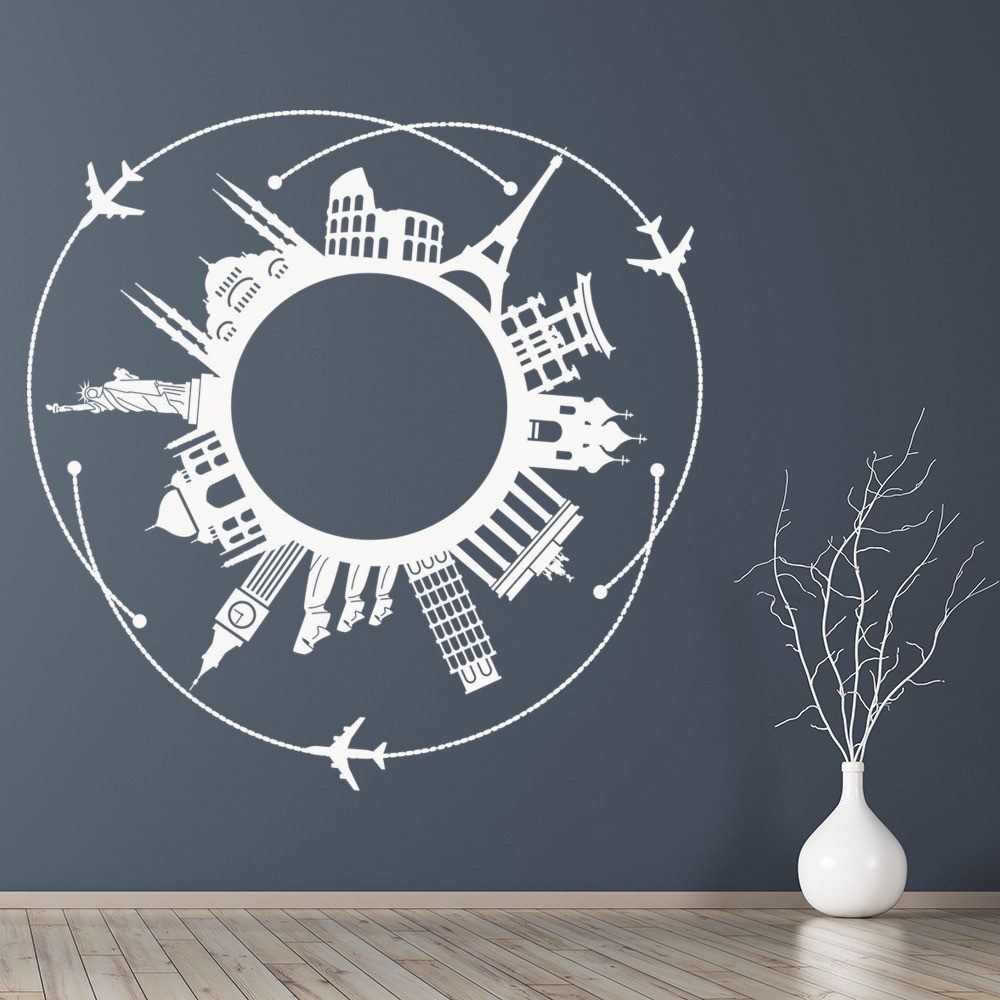 World landmarks wall sticker paris new york rome wall for Wall stickers roma