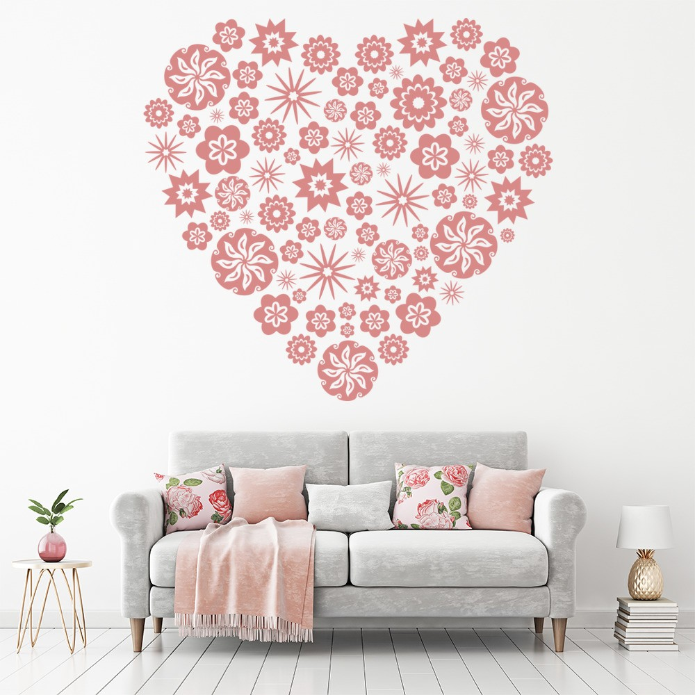 lovely living room wall decals | Floral Heart Wall Sticker Love Heart Wall Decal Girl Room ...