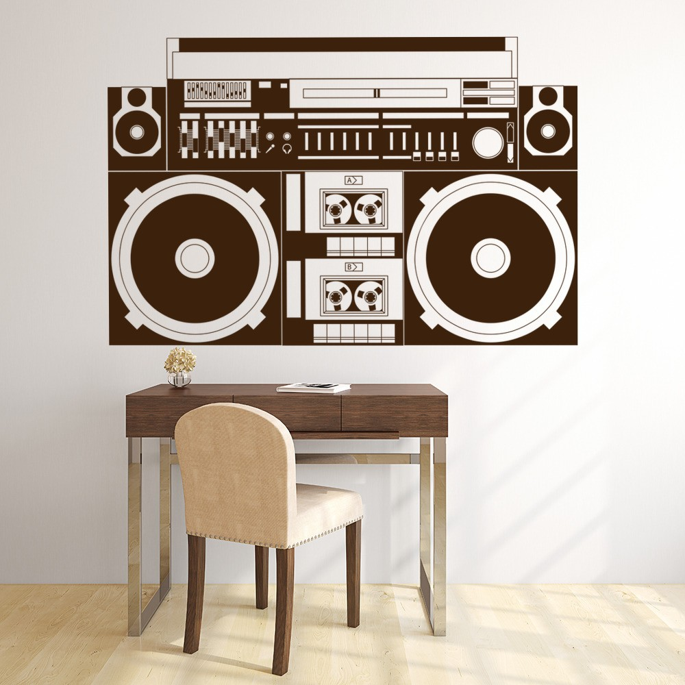 Retro Boom Box Wall Sticker Hi-Fi Music Wall Decal Kids