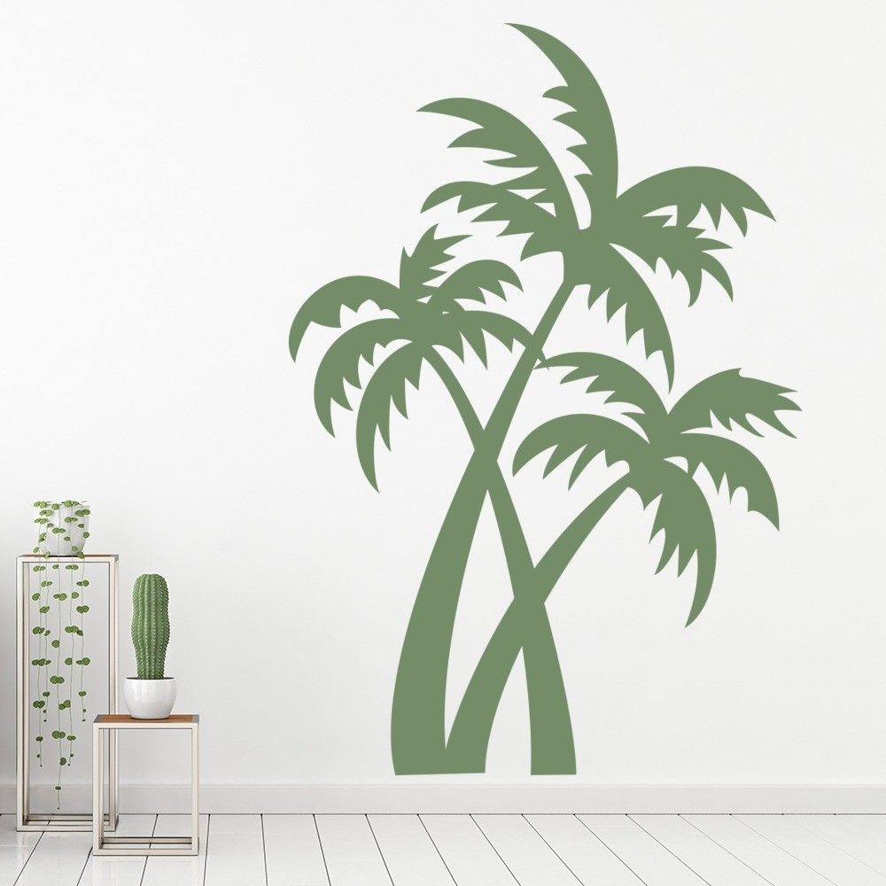 palm trees wall sticker tropical trees wall decal bathroom bedroom home decor. Black Bedroom Furniture Sets. Home Design Ideas