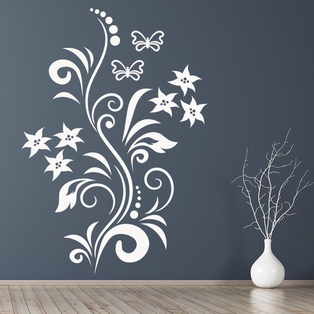 Butterfly Flower Vine Wall Sticker Kitchen Wall Decal