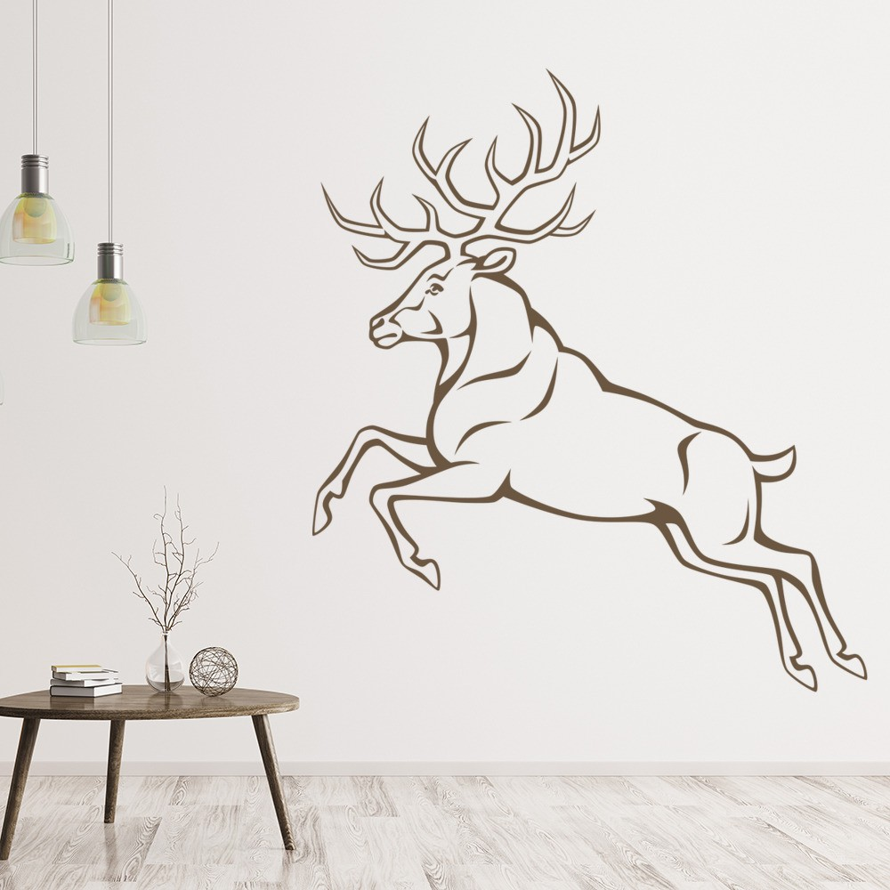 Jumping Stag Deer Wall Sticker Woodland Animals Wall Decal Bedroom Home  Decor