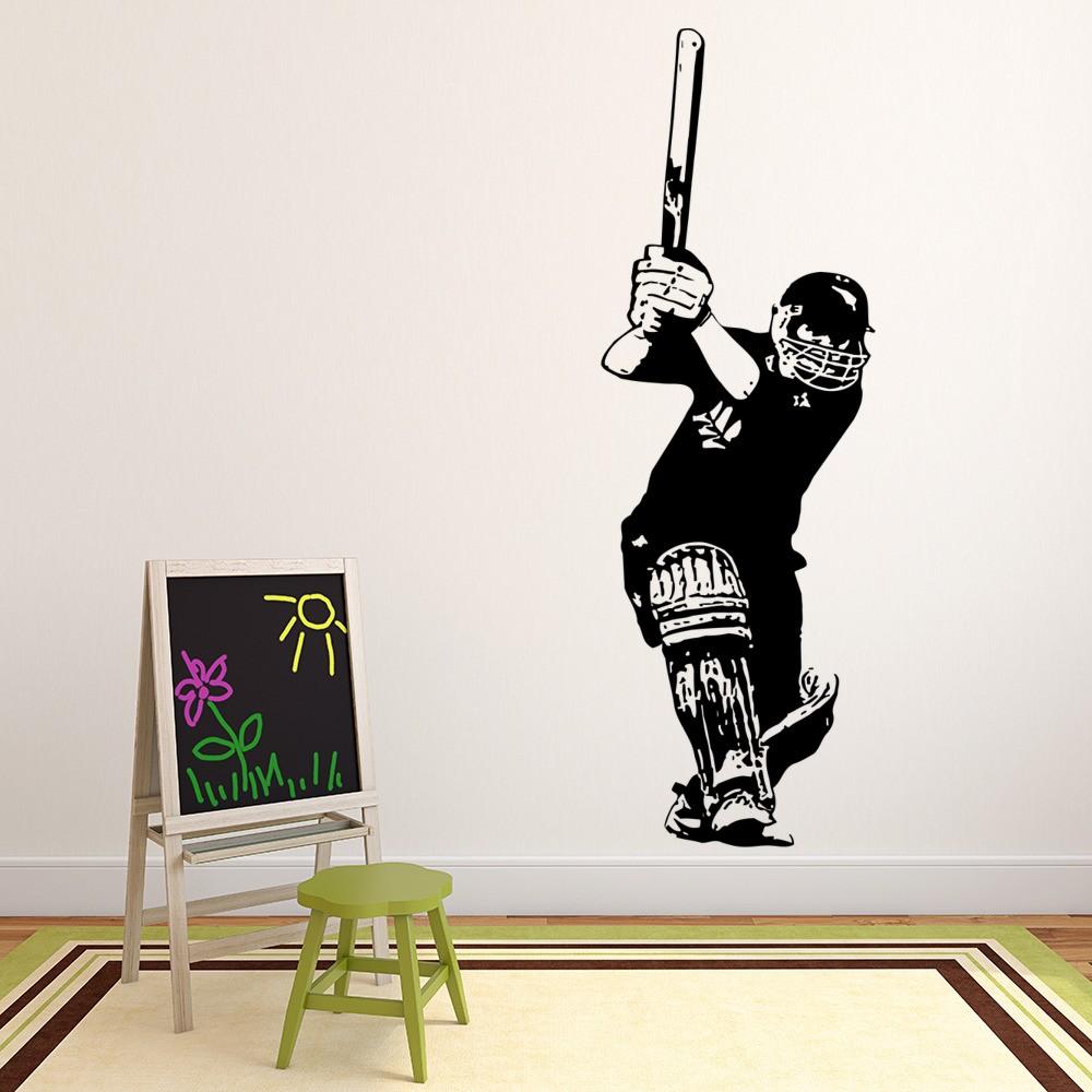 Great Cricket Batsman Wall Sticker Sports Wall Decal Boys Bedroom Home Decor