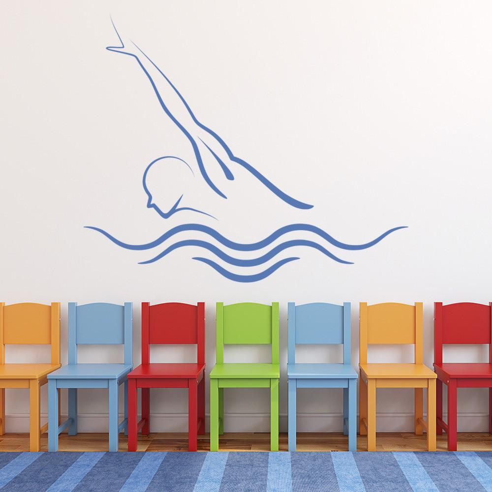Swimming Wall Sticker Breast Stroke Wall Decal Water