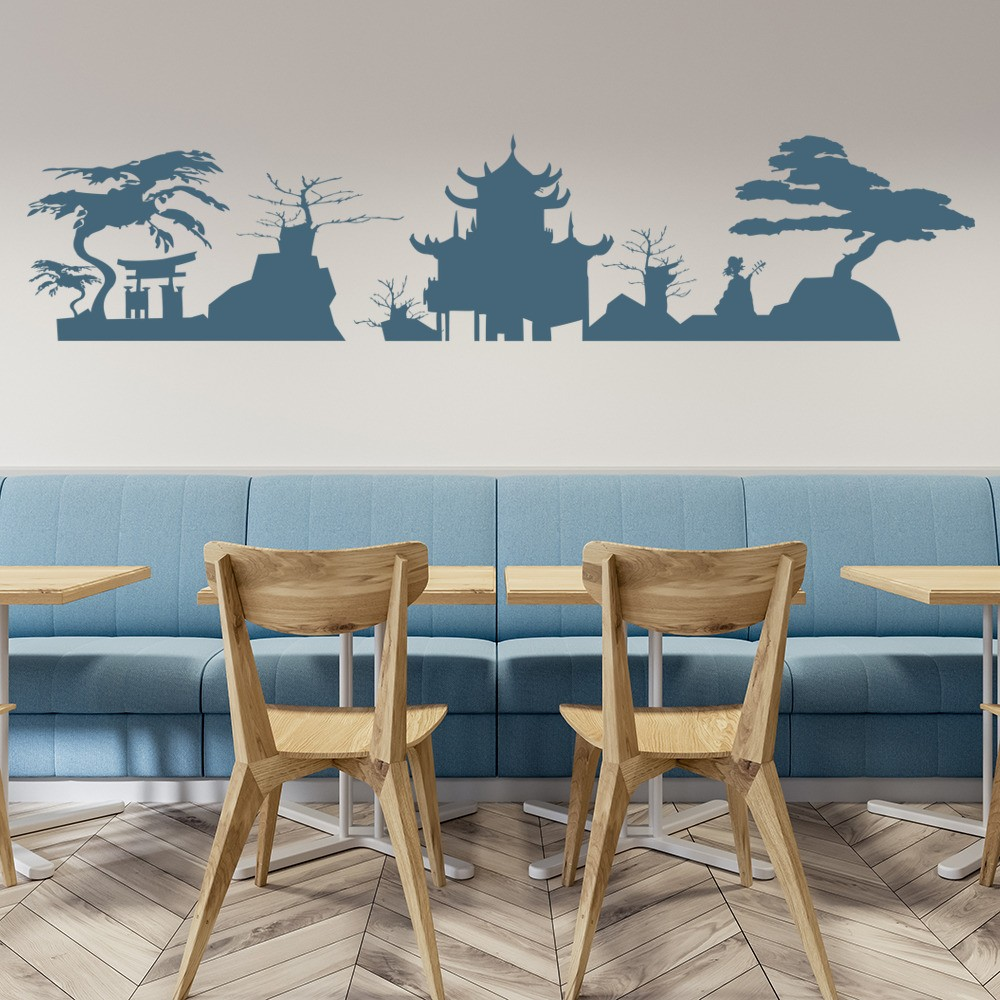 Japanese Skyline Wall Sticker Japan Wall Decal Living Room