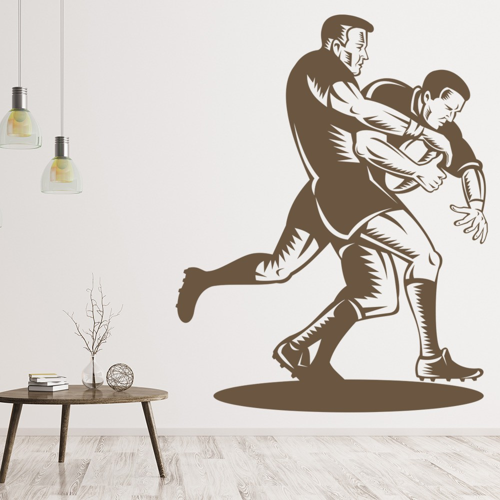 Rugby Tackle Wall Sticker Sports Wall Decal Boys Bedroom