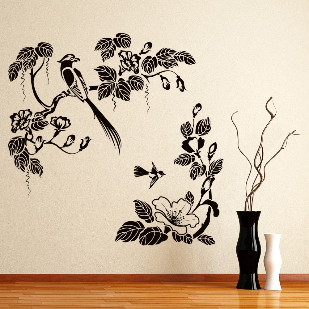 Tropical Birds Wall Sticker Floral Trees Wall Decal Living