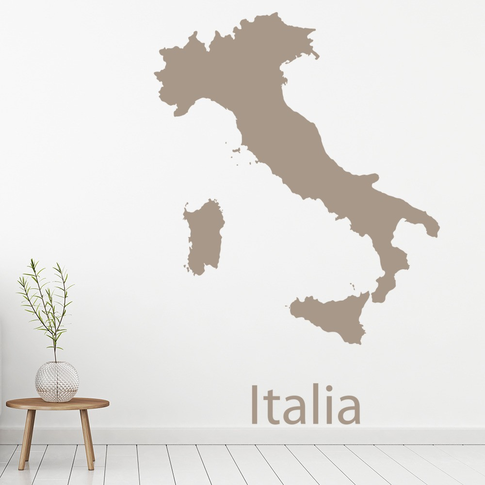 Italy map wall sticker educational maps wall decal school office home decor