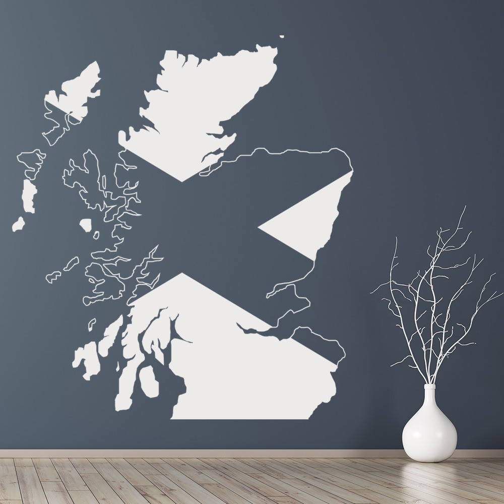 Scotland Map Wall Sticker Scottish Flag Wall Decal Bedroom