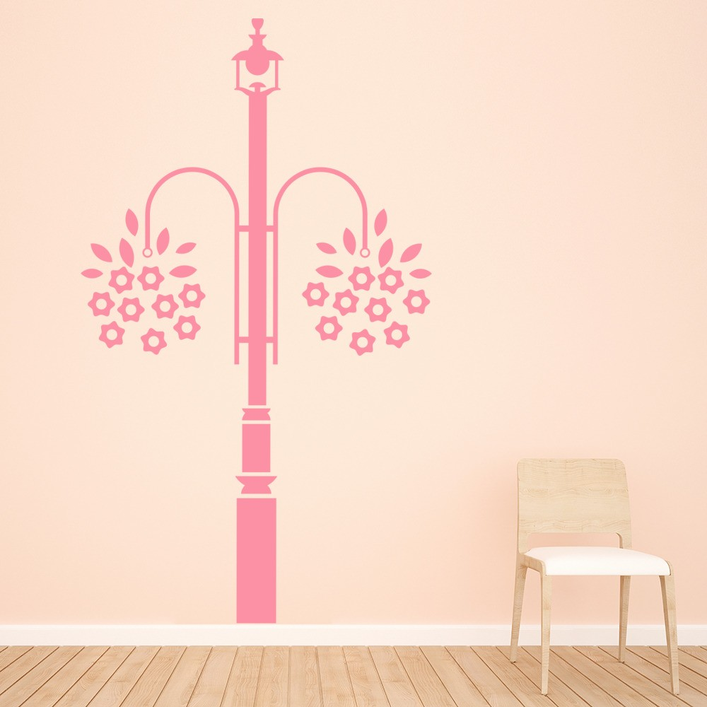 Lamp post wall sticker flowers wall decal dining room kitchen home decor