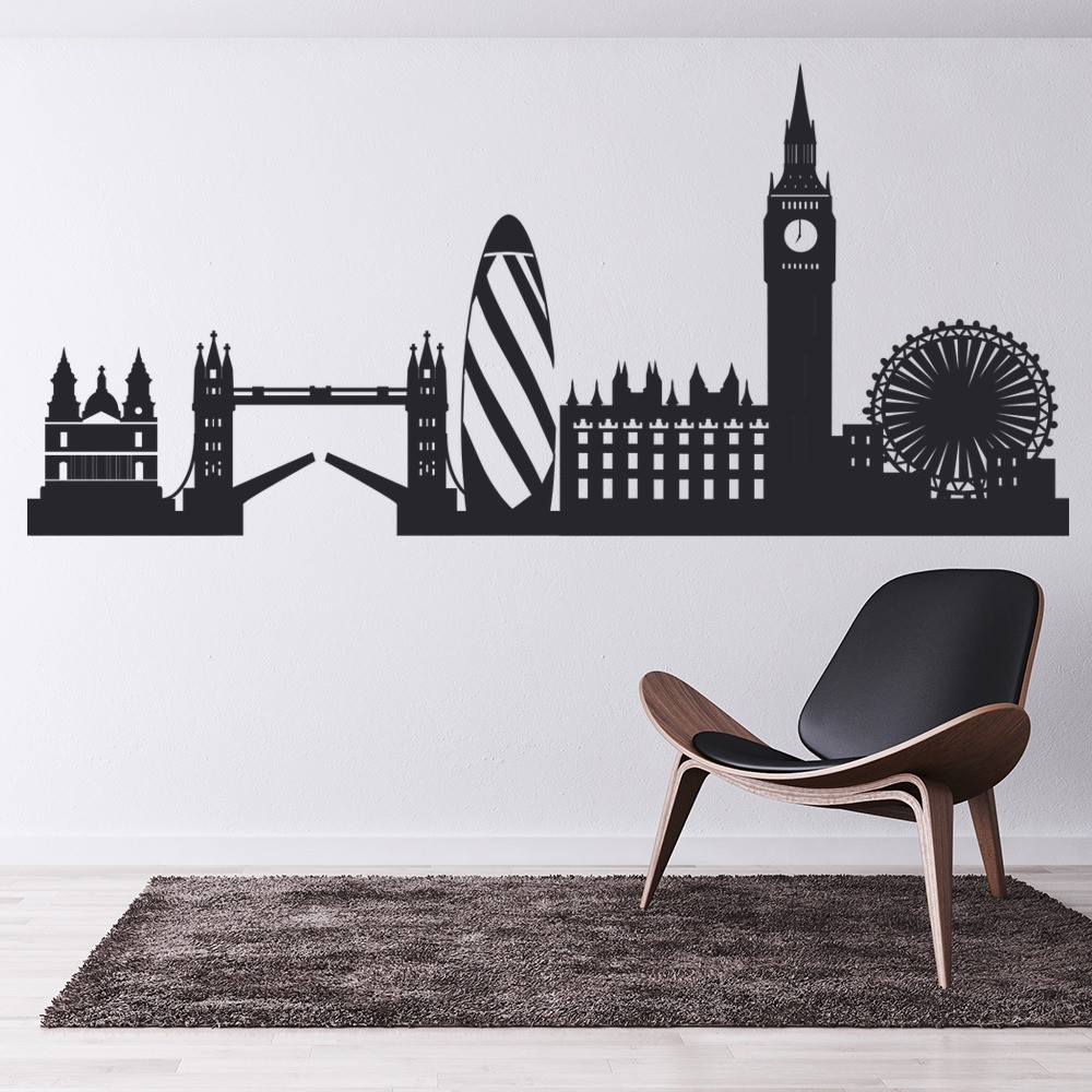 London city skyline wall sticker united kingdom wall decal bedroom office decor