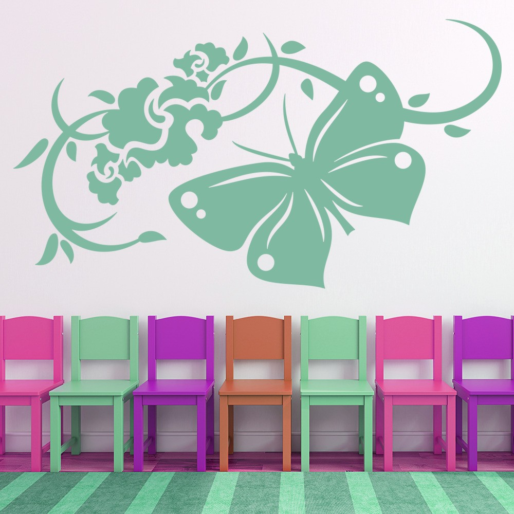 Butterfly and flowers wall stickers floral wall art for Butterfly wall mural stickers