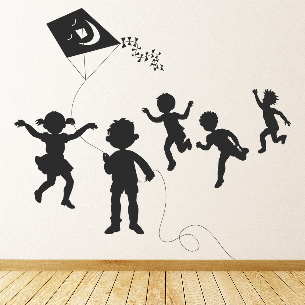 Children Flying Kite Wall Sticker Children S Wall Art