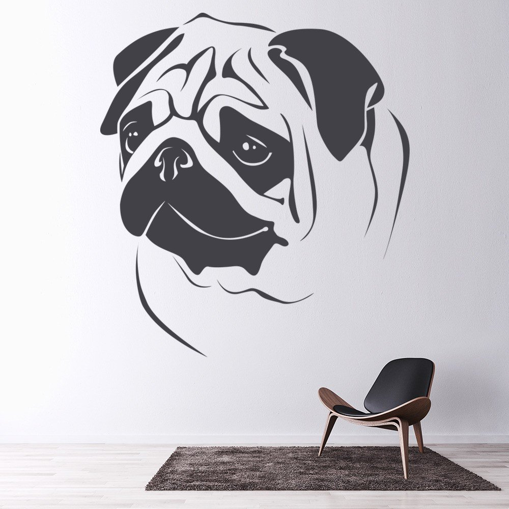 Pugs Head Wall Sticker Animal Wall Art