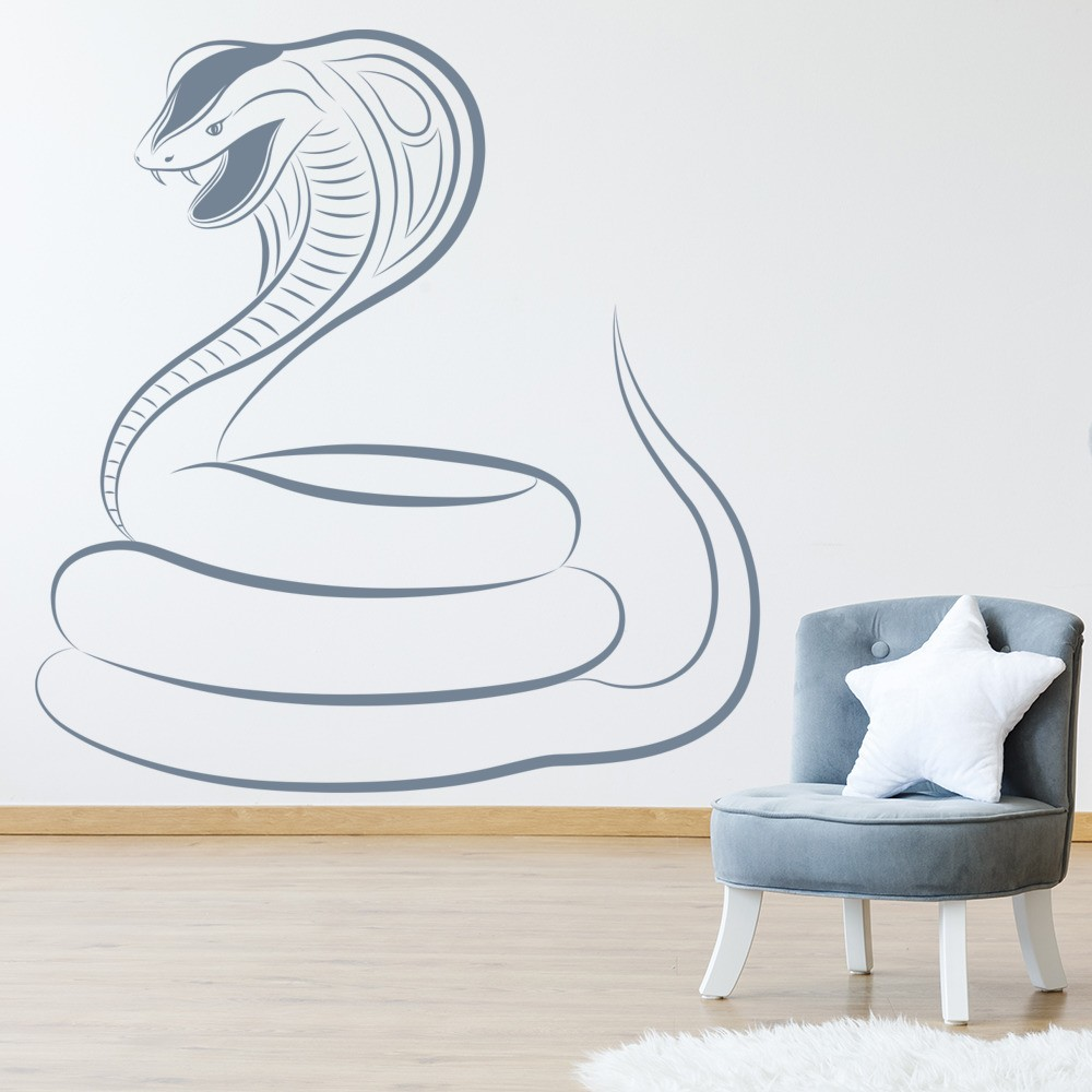 corbra wall sticker serpent snake wall decal boys bedroom home decor