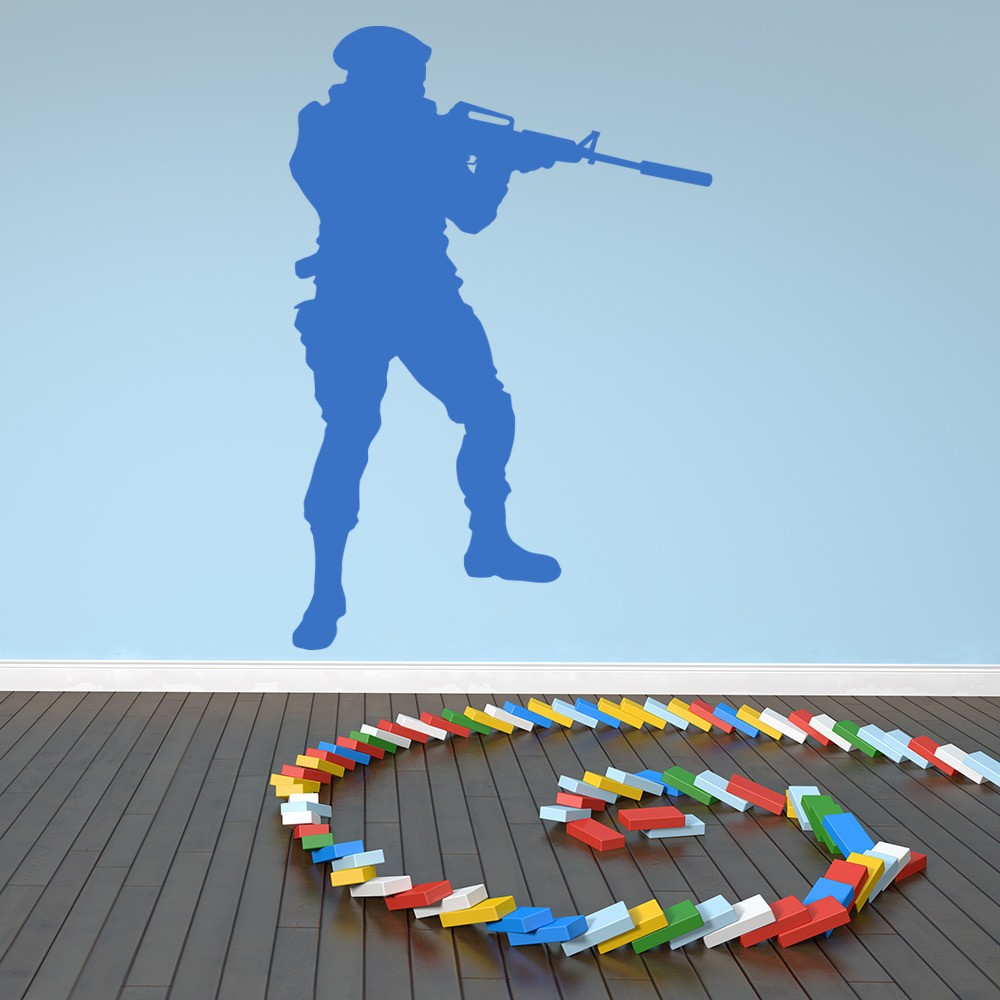 soldier shooting wall sticker army wall art