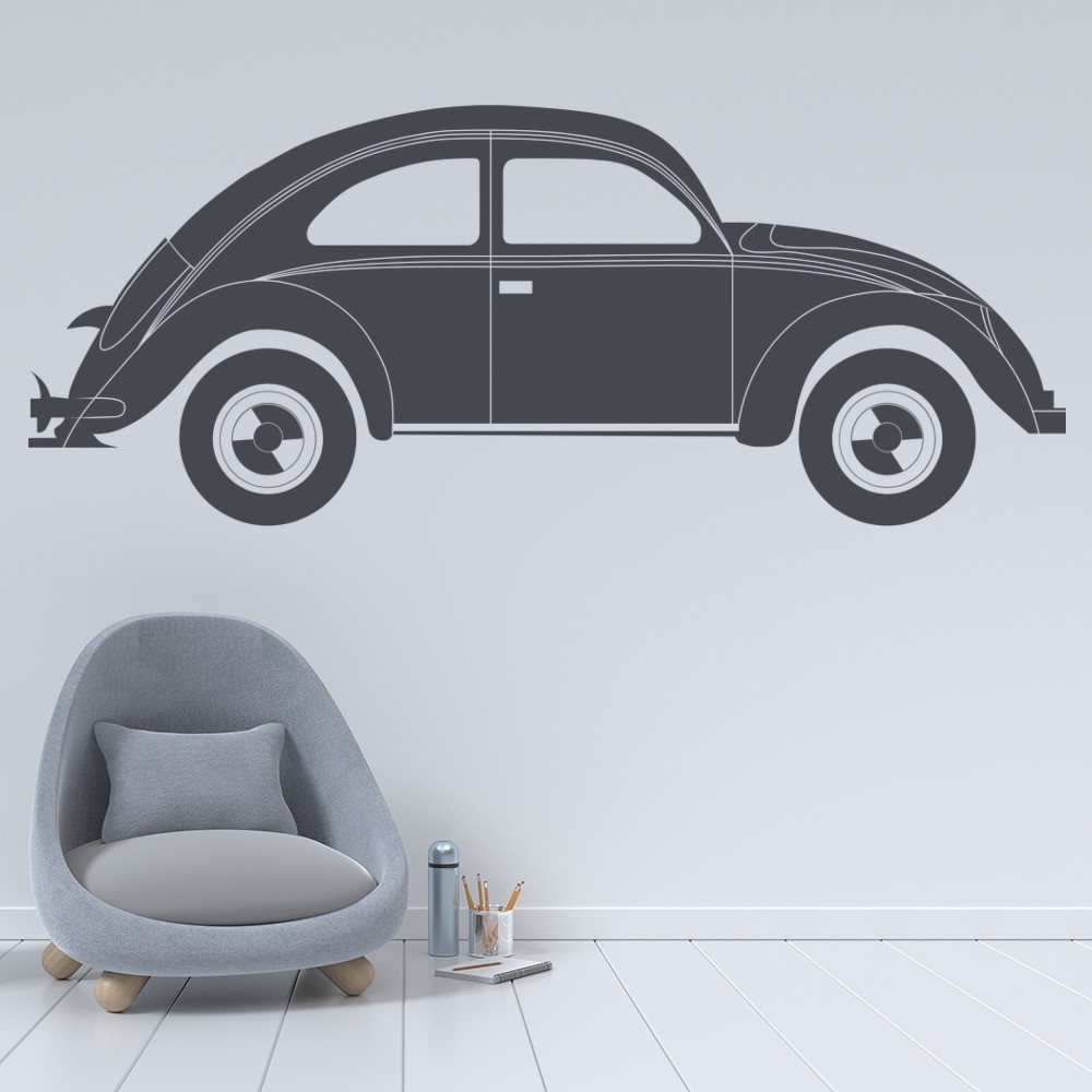 Vw beetle wall sticker car wall art for Cars wall mural sticker