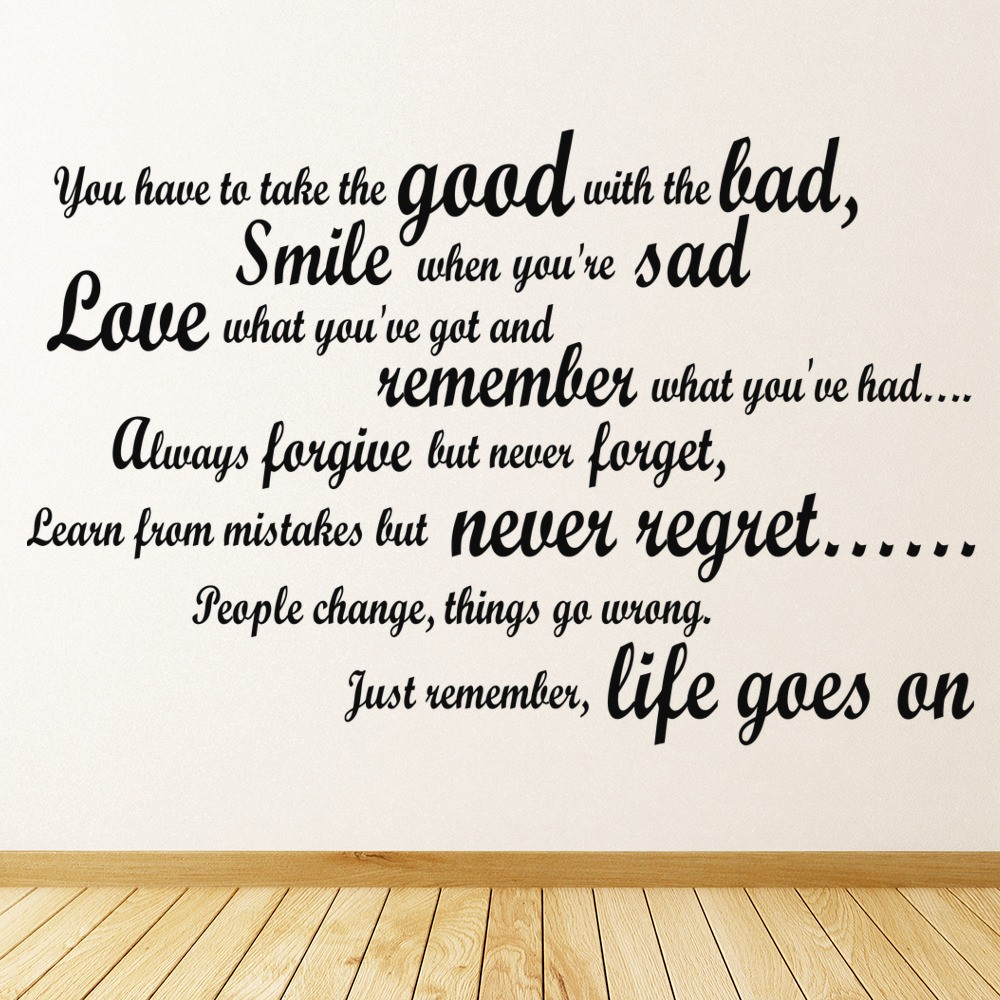 Good with the bad wall sticker inspirational quote wall decal kitchen home decor