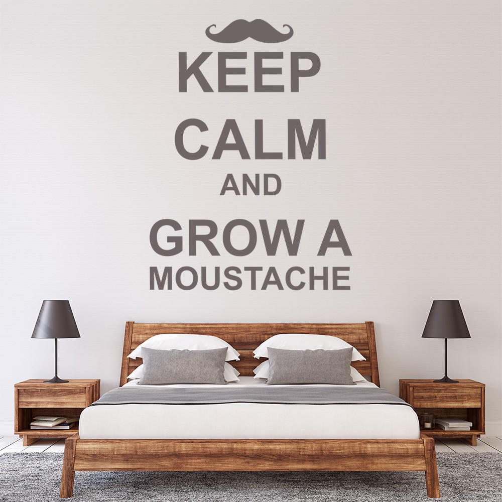 keep calm and grow a moustache wall sticker keep calm wall art moustache mustache movember wall decal sticker removable