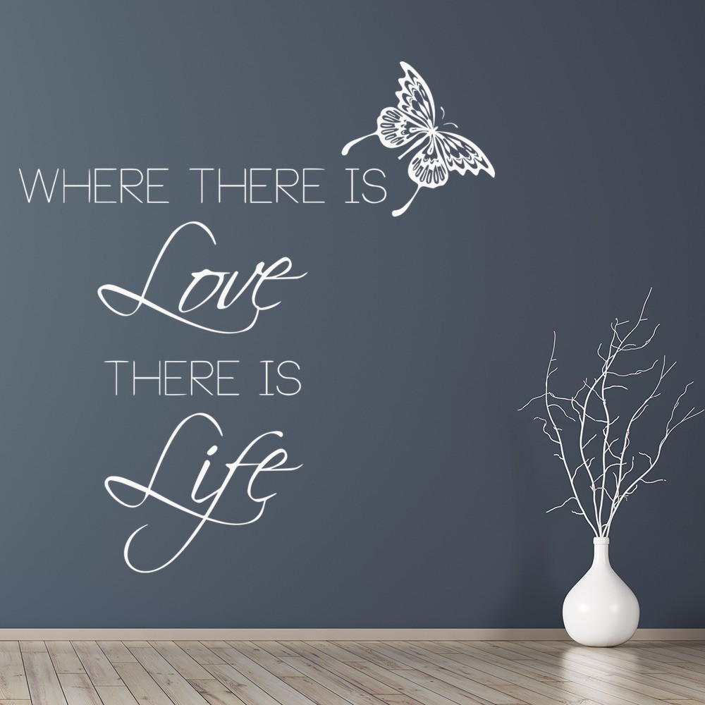 Inspirational Wall Decals Mahatma Gandhi Quotes for the Home or Bedroom Decor Where There Is Love There Is Life