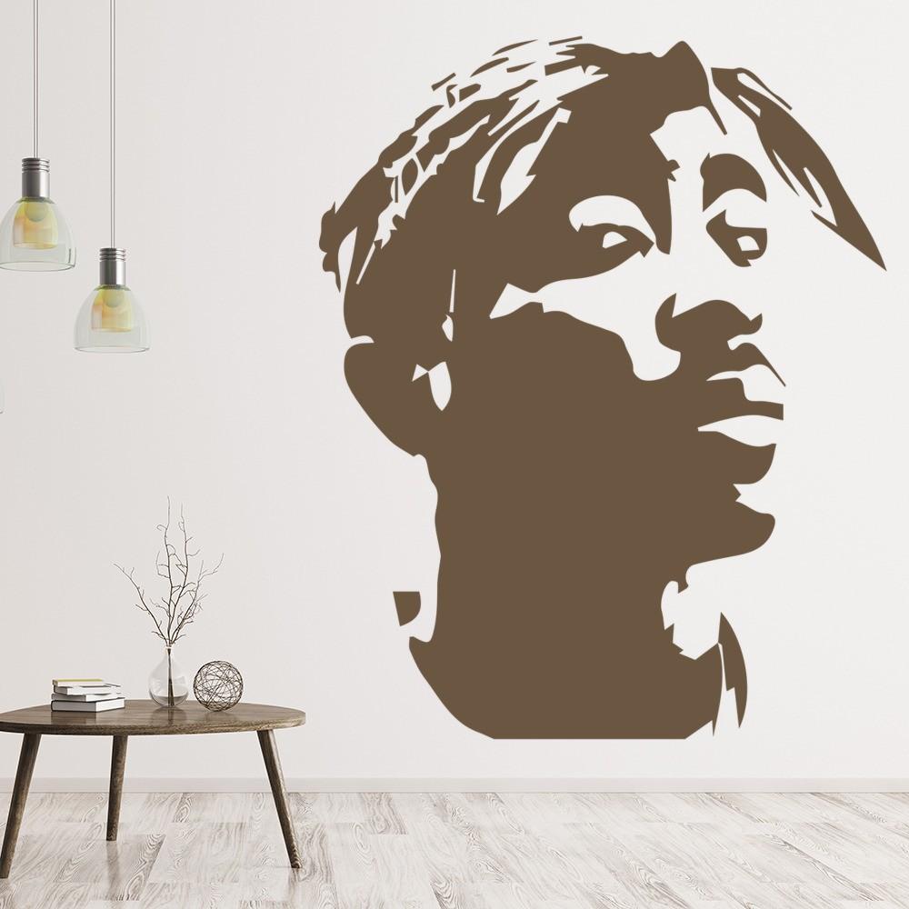 2pac rapper wall sticker tupac shakur music wall decal. Black Bedroom Furniture Sets. Home Design Ideas