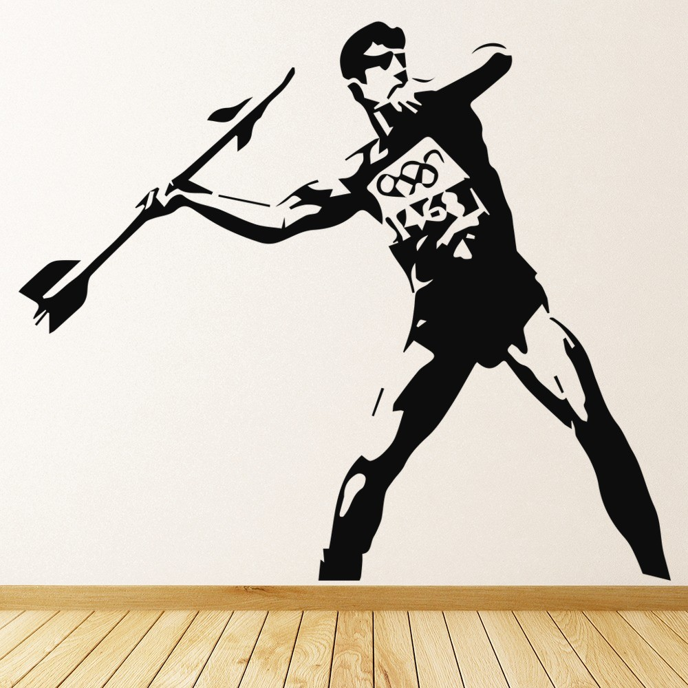 & Javelin Thrower Banksy Style Wall Art Grafitti Wall Stickers