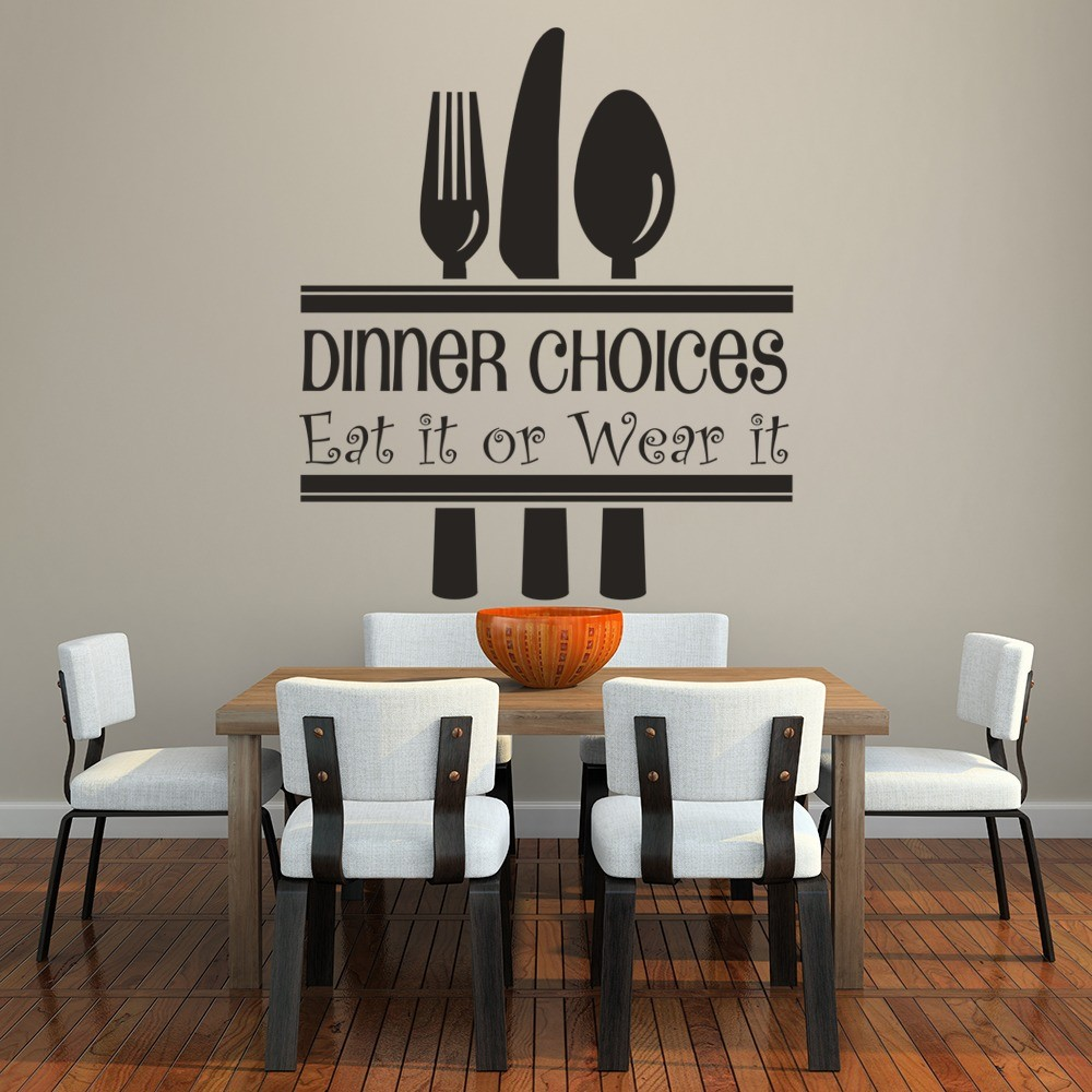 Dinner Choices Wall Sticker Funny Kitchen Quotes Wall