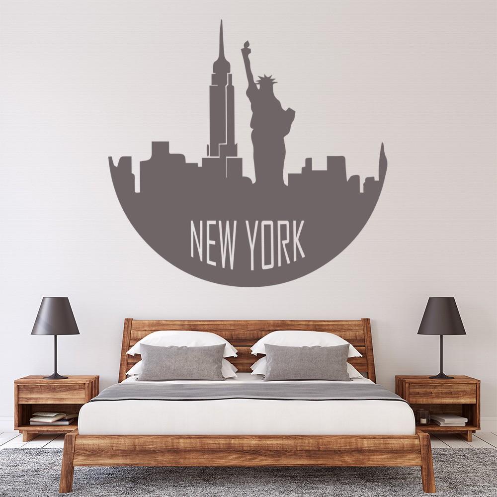 new york circular skyline wall sticker landmark wall art. Black Bedroom Furniture Sets. Home Design Ideas