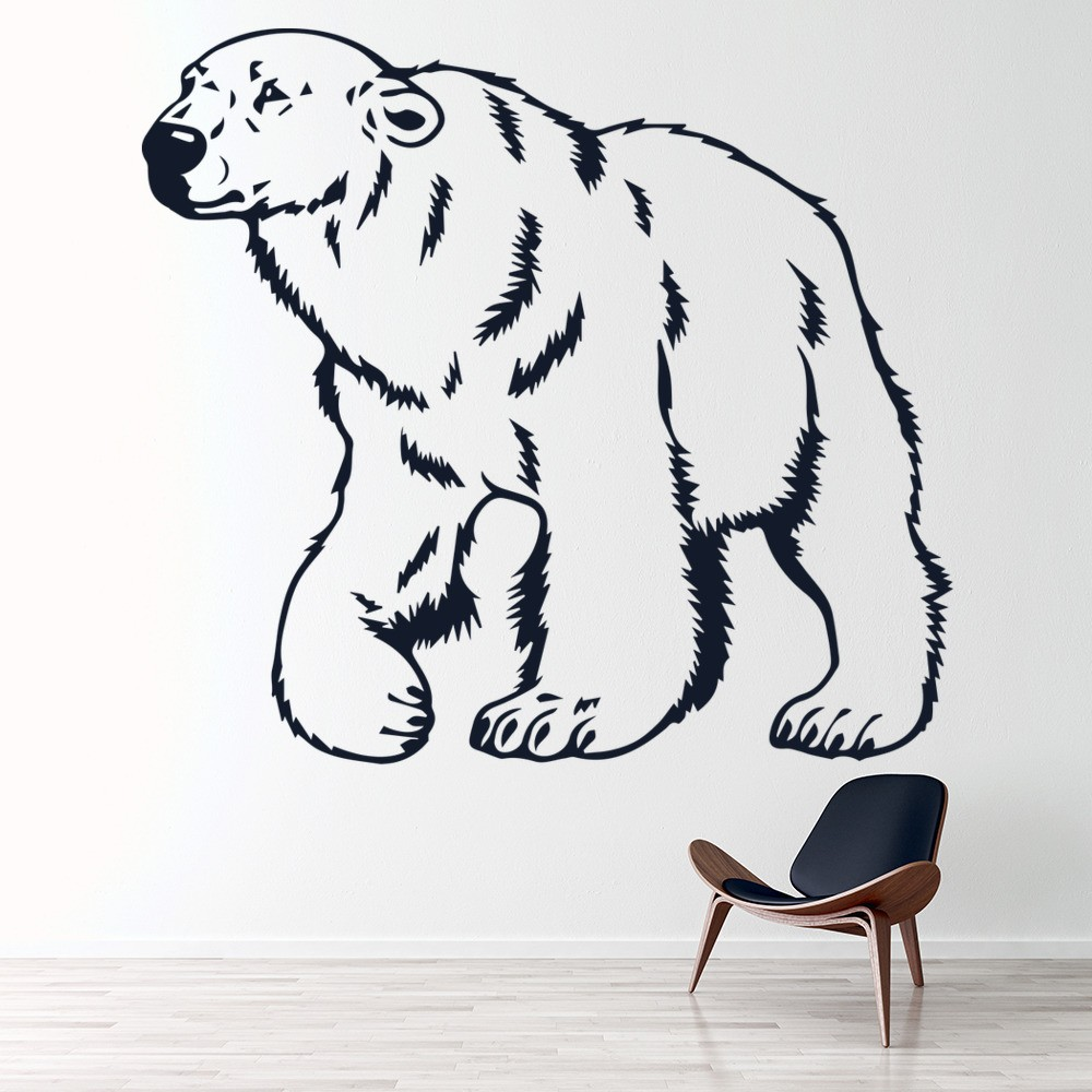 Polar Bear Outline Wall Sticker Animal Wall Art