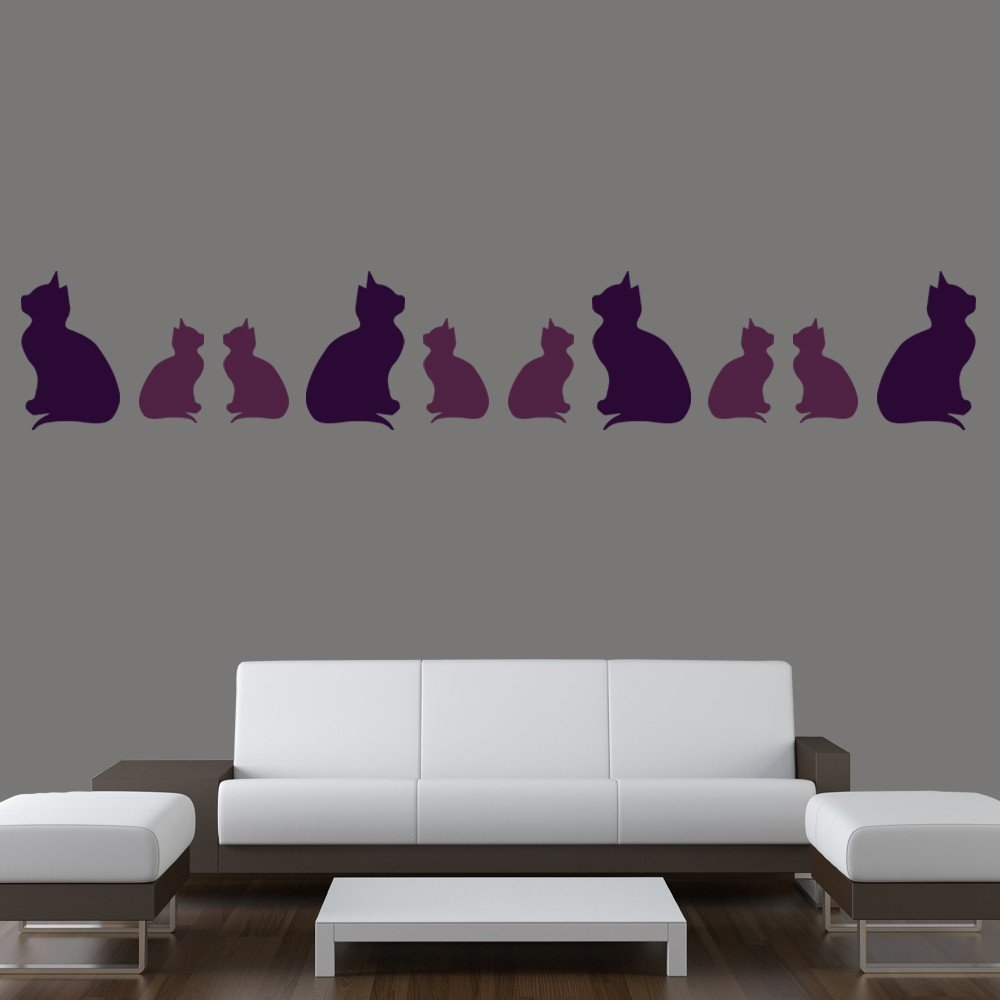 Sitting Kitten Silhouette Wall Sticker Creative Multi Pack