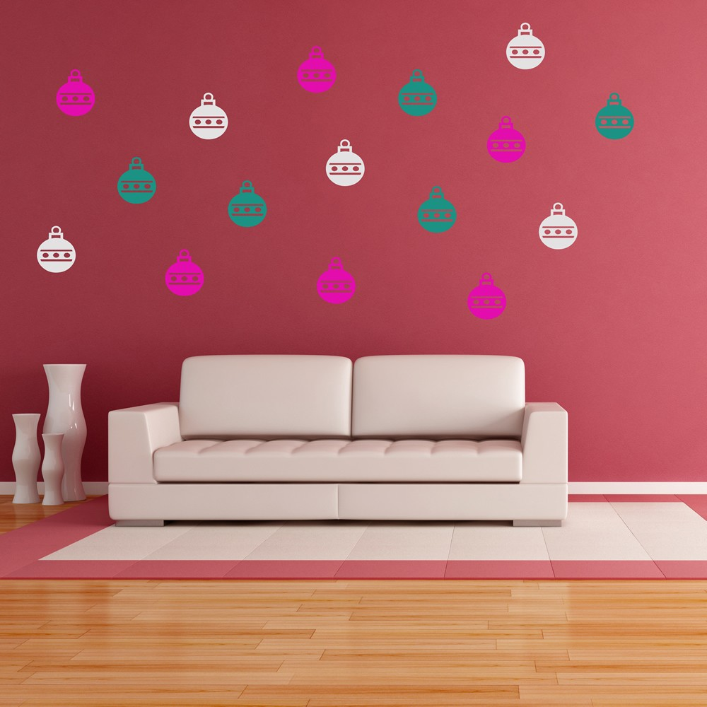 Home living wall stickers iconwallstickers bauble christmas creative multipack wall stickers seasonal decor art decals amipublicfo Image collections