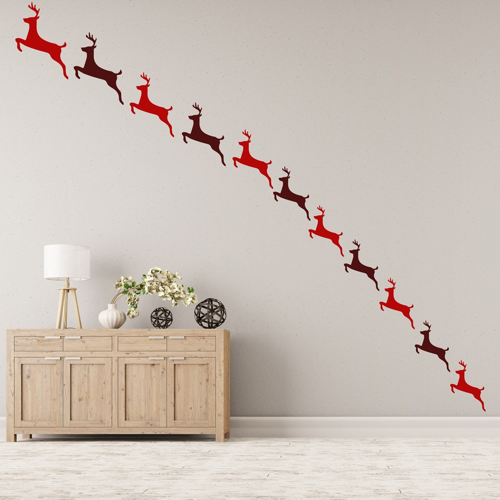 Reindeer wall sticker pack festive christmas wall decal for Wall decoration ideas with photos